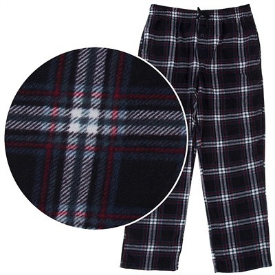 Black, Red, and White Fleece Pajama Pants for Men