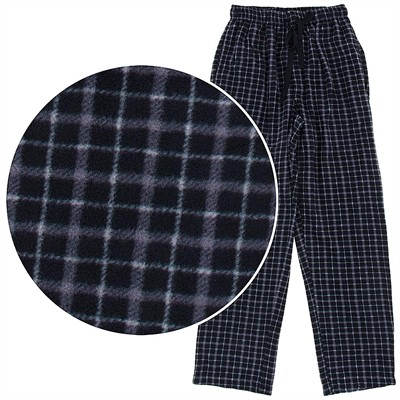 Gray and Black Fleece Pajama Pants for Men