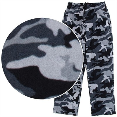 Gray Camo Fleece Pajama Pants for Men