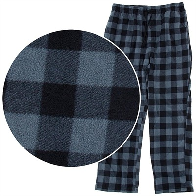 Gray and Black Check Fleece Pajama Pants for Men