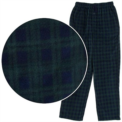 Green and Blue Fleece Pajama Pants for Men