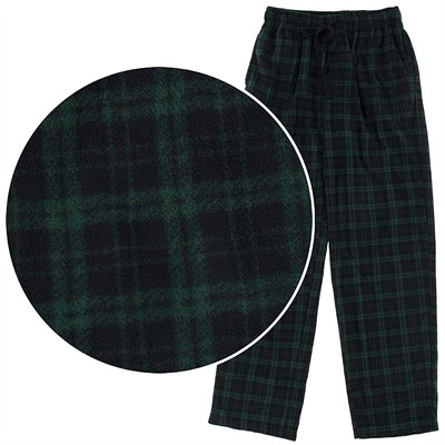 Green Plaid Fleece Pajama Pants for Men