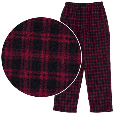 Red and Black Plaid Fleece Pajama Pants for Men
