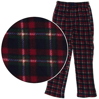 Red and Green Plaid Fleece Pajama Pants for Men