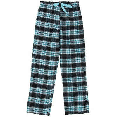 Black and Teal Flannel Pajama Pants for Women