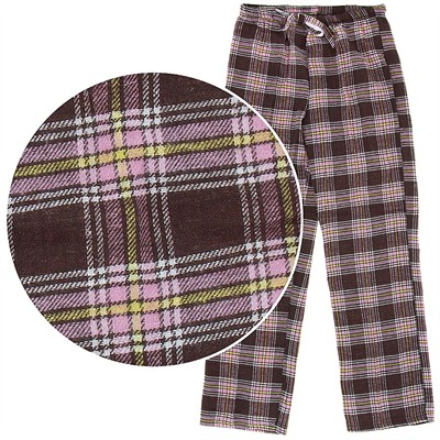 Brown and Pink Flannel Pajama Pants for Women