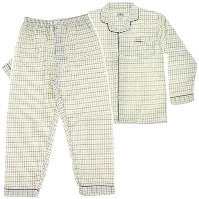 Comfort Zone Cream Plaid Flannel Pajamas for Men