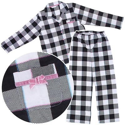 Black and White Plaid Flannel Pajamas for Women