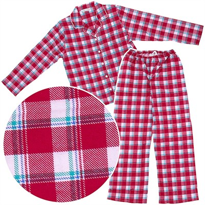 Red Plaid Flannel Pajamas for Women