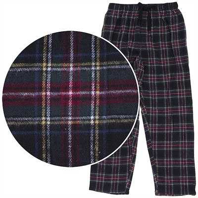 Black, Red, and Yellow Plaid Flannel Pajama Pants for Men