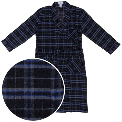 Black and Blue Flannel Bath Robe for Men