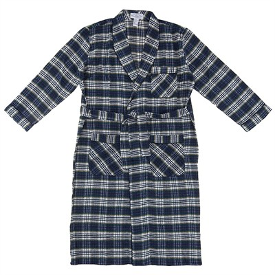 Blue, White, and Green Flannel Bath Robe for Men