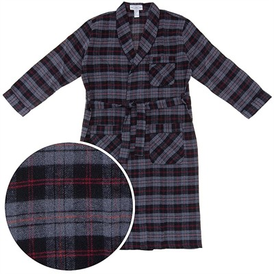 Gray, Black, and Red Flannel Bath Robe for Men