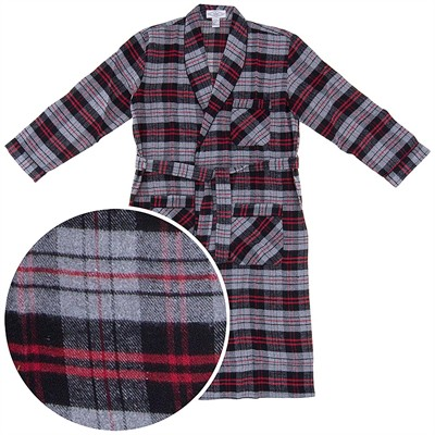 Gray, Red, and Black Flannel Bath Robe for Men