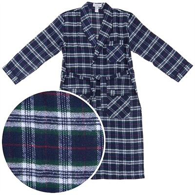 Navy and Green Flannel Bath Robe for Men