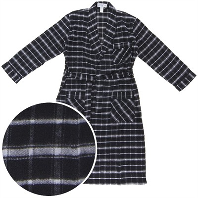 Black and Gray Flannel Robe for Men