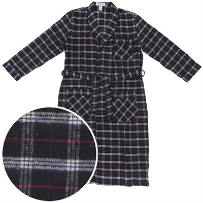 Red and Black Flannel Robe for Men