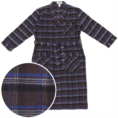 Brown and Royal Blue Flannel Robe for Men