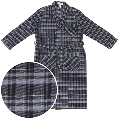 Gray and Black Flannel Robe for Men