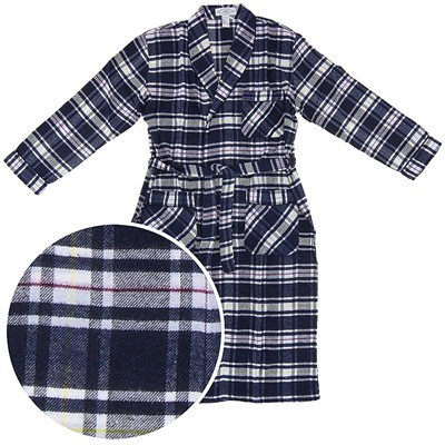 Navy, Yellow, and Red Plaid Flannel Bathrobe for Men