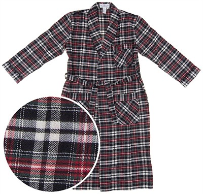 Red, Green, and Black Plaid Flannel Bathrobe for Men