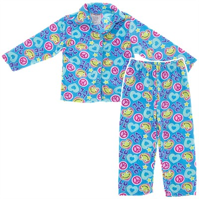 Blue Frog Fleece Coat-Style Pajamas for Girls