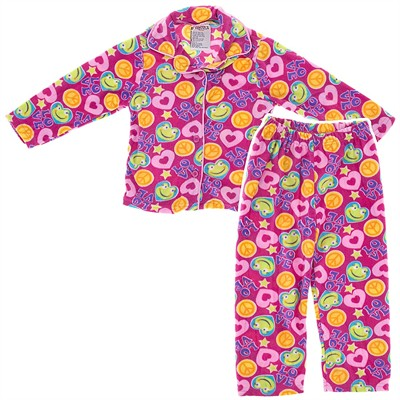 Pink Frog Fleece Coat-Style Pajamas for Girls