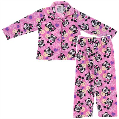 Pink Panda Fleece Coat-Style Pajamas for Girls