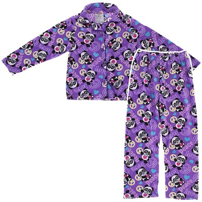 Purple Panda Fleece Coat-Style Pajamas for Girls