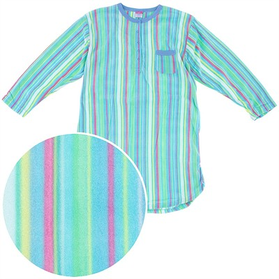 Green Striped Fleece Nightgown for Women