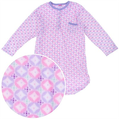 Pink Purple Patterned Fleece Nightgown for Women