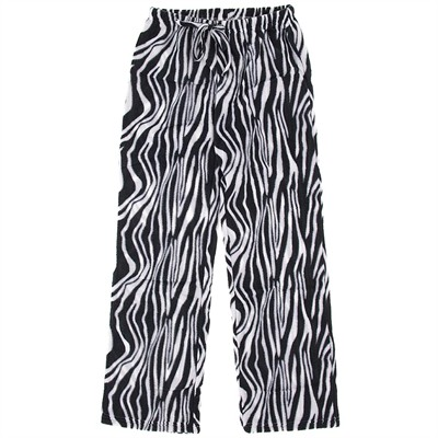Zebra Fleece Pajama Pants for Women