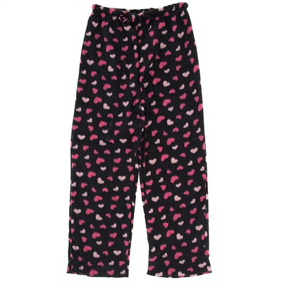 Black Heart Fleece Pajama Pants for Women