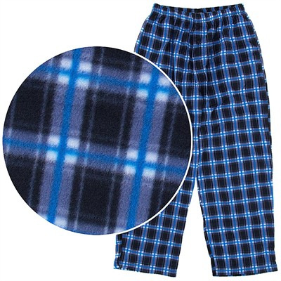Blue and Black Plaid Fleece Pajama Pants for Men