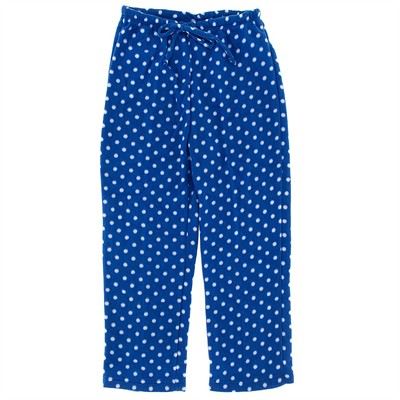 Blue Polka Dot Fleece Pajama Pants for Women
