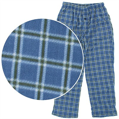 Blue and Green Fleece Pajama Pants for Men