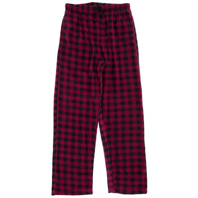 Fuchsia and Black Fleece Pajama Pants for Men