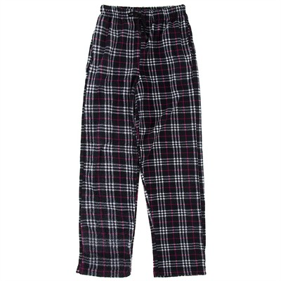 Black, White and Pink Fleece Pajama Pants for Men
