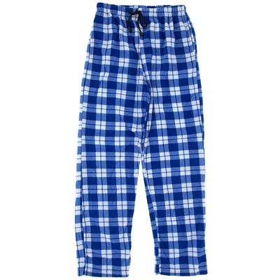 Blue and White Fleece Pajama Pants for Men