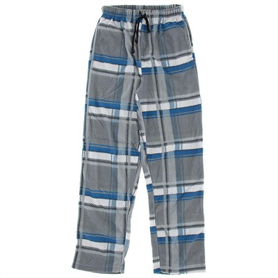 Blue and Gray Fleece Pajama Pants for Men