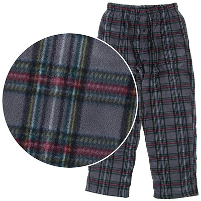 Gray Plaid Fleece Pajama Pants for Men