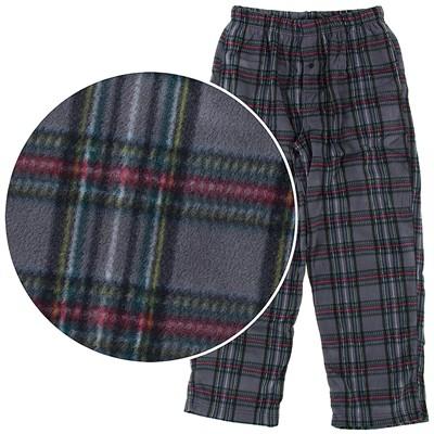 Gray Plaid Fleece Pajama Pants for Men