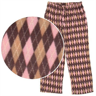 Pink and Brown Argyle Fleece Pajama Pants for Women