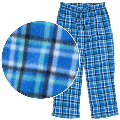 Blue and Green Plaid Fleece Pajama Pants for Women