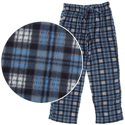 Gray and Blue Plaid Fleece Pajama Pants for Women
