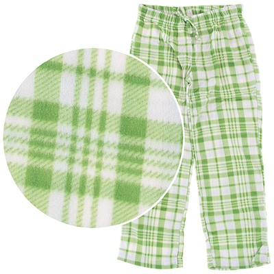Green Plaid Fleece Pajama Pants for Women
