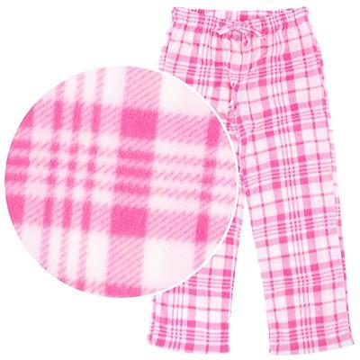 Pink Plaid Fleece Pajama Pants for Women