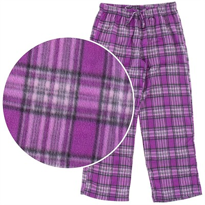 Purple Plaid Fleece Pajama Pants for Women