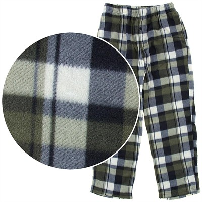 Olive Green Plaid Fleece Pajama Pants for Men