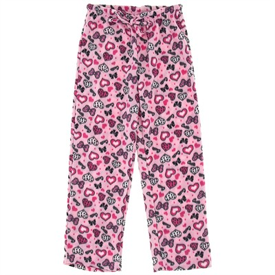 Pink Heart Fleece Pajama Pants for Women